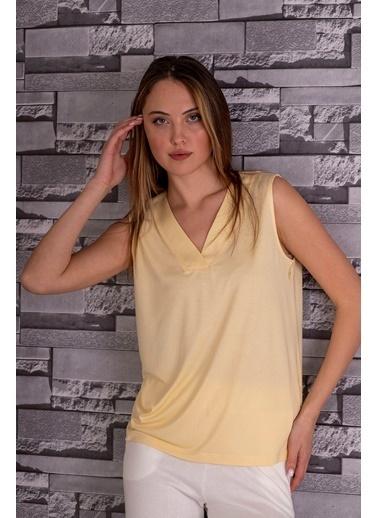 Stamina  Bayan V Yaka Kolsuz Bluz-5VS05 Sarı